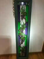 "Beautiful Stained Glass Window Panel Wood Frame 9""x39"" Vineyard Sun Catcher"