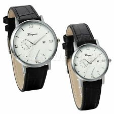 Couples Ultra Thin Simple Dial Roman Numberals Leather Strap Quartz Wrist Watch