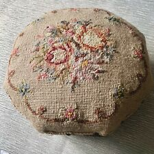 Octagonal Antique Victorian Embroidered Flowers Small Padded Footstool