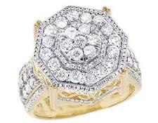 Men's 10K Yellow Gold Genuine Diamond Octagon Wedding Pinky Ring 2 2/5 CT 19MM