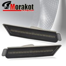 Camaro 2010-2012 White LED Front Side Marker Light Smoke Lens Chrome Housing