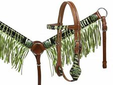 PONY Leather Bridle & Breastcollar Set w/ LIME GREEN Zebra Print & Fringe! NEW!!