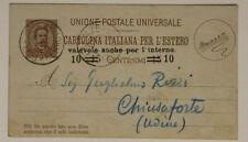Intero Cartolina 10 Centesimi su 15 1890 da Firenze a Chiusaforte #18211