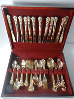 Godinger Grand Master 65 Piece Flatware Gold Electroplated with Chest