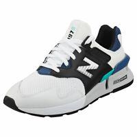 New Balance 997 Sport Mens White Black Blue Leather & Textile Fashion Trainers