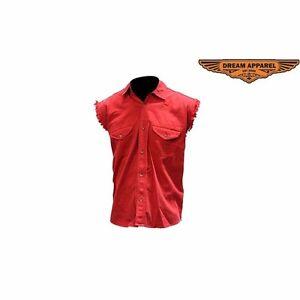Men's Denim Red Sleeveless Shirt - free shipping