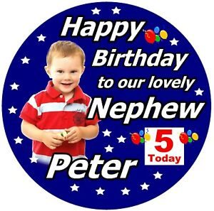 PERSONALISED NEPHEW / HAPPY BIRTHDAY BADGE / WITH PHOTO / NAME, AGE, NEW / GIFTS
