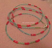 Single strand Beautiful and sexy handmade waist beads. Red and Light Blue