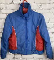 Vintage 1970-80s Sears Mens Snow Ski Coat Size L Blue Red Full Zip Winter Jacket