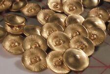 """10 Golden Mushroom Metal Shank Buttons Well Made 1"""""""