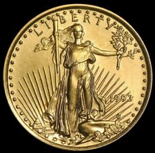 1993 GOLD 1/10 OZ US $5 DOLLAR AMERICAN EAGLE COIN CLEANED
