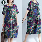 Vintage Women Short Sleeve Loose Floral Print Long Maxi Dress Plus Kaftan Tops