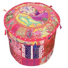 """Ethnic Round Pouf Cover Patchwork Embroidered Pouffe Slipcover Bohemian 18"""" Pink"""