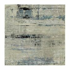 """9'10""""x9'11"""" Abstract Design Silver-Blue Hand Knotted Wool-Silk Rug R58501"""