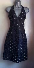 NEW LOOK Black & White Polka Dot, Halter Neck, Sun Dress, Petite, Size 8