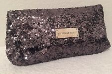 New~Victoria's Secret Charcoal Gray Sequin Fold-Over Evening Clutch Purse Bag