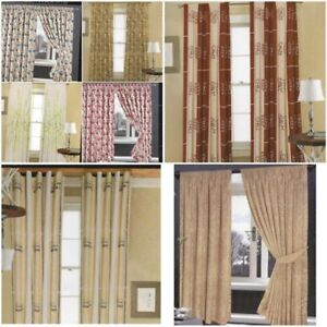 Jacquard Window Long Fall Tape Tie Backs LINED CURTAINS