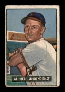 """1951 Bowman Set Break # 10 Al """"Red"""" Schoendienst LOW GRADE *OBGcards*"""