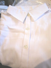 LANDS END WOMENS LONG SLEEVE WHITE HERRINGBONE BLOUSE SIZE 18