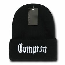 DECKY Compton  Long Cuffed Beanie Old English Font Knit