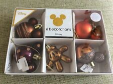 BNWT New Disney Set of 6 Mickey Mouse Christmas Tree Decorations Copper Glitter