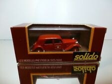 SOLIDO 32A CITROEN 15CV 1938 SAPEURS POMPIERS - RED 1:43 - VERY GOOD IN BOX