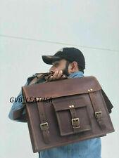 Bag Vintage Business Leather Laptop Messenger Briefcase Satchel Shoulder LBS