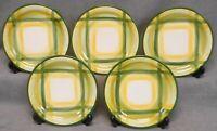 Set (5) Vernon Kilns GINGHAM PATTERN Dessert or B&B Plates MADE IN CALIFORNIA