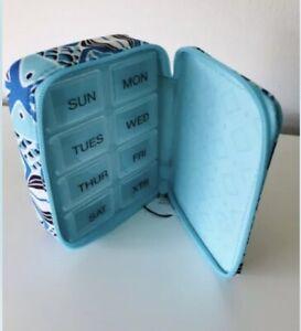 Vera Bradley Travel Pill Case GO FISH BLUE NWOT