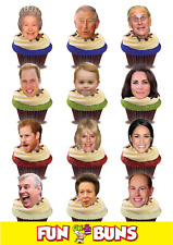 ROYAL FAMILY FUNNY FACE MIX Edible WAFER CARD Standup Cake Toppers.