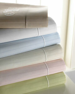 NEW SFERRA Neiman Marcus STRIPED 2 Standard Pillowcase Cotton Sateen Green PAIR