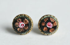 Gorgeous Vintage Venetian Glass Earrings Made from Buttons w/ Silver Fittings