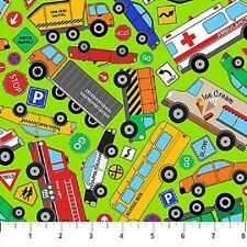 Connector Playmats cotton quilt fabric by Northcott Around Town Trucks & Cars GR
