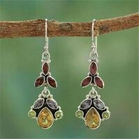 Women 925 Silver Garnet Peridot Topaz Hook Dangle Drop Wedding Jewelry Earrings