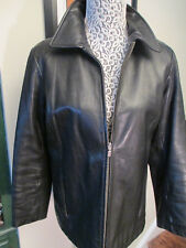Great looking genuine leather jacket ,size 6-8 R, black, hip length