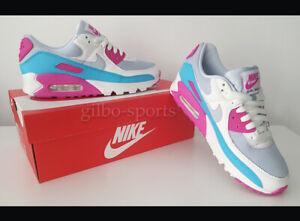 Nike Air Max 90 W White Grey Pink Blue Größe 39 weiss grau blau CT1030 001