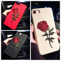 For iPhone X XR Max 8 7 Plus Slim Fit Case Retro Rose Flower Protective Covers