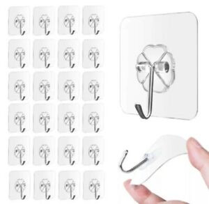 24 Pcs Adhesive Sticky Hooks Heavy Duty Wall Seamless Hooks Hangers Transparent