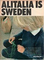 1967 Original Advertising' Vintage Alitalia Airlines Company Aerial Sweden