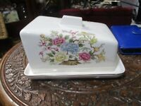 VINTAGE IRONSTONE CHEESE OR BUTTER DISH  ORIENTAL DESIGN  GOOD CONDITION