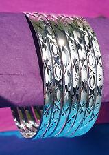 Cut Silver Layered Semanario Bangles Bracelets Plata Laminada 7 4mm