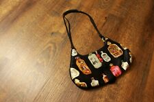 Japanese Perfume Bottle Print Small Hand Bag With Magnetic Snap Clasp