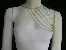 Women Gold Shoulder Rhinestones Classic Necklace Metal Chains Fashion Jewelry