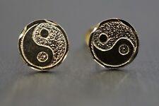 14K Solid Yellow Gold Diamond Cut Yin Yang Stud Earrings!! (#1207711)