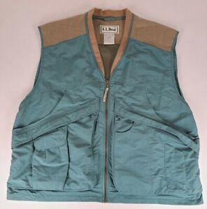 Vintage LL Bean Outdoor Fishing Green Tan Utility Vest Mens Size XXL