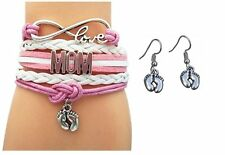Mom Jewelry Set, Mom Bracelet and Baby Feet Earrings- Makes the Perfect New Mom