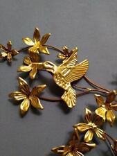 Home Interior Brass Hummingbird Flower Accent Wall Plaques