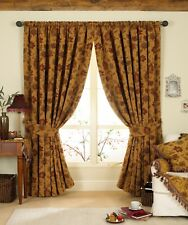 Paoletti Zurich Floral Chenille Jacquard Lined Pencil Pleat Curtains Gold 66 X