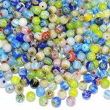 GXL3453 Assorted Color Flower Millefiori 6mm Round Glass Bead Mix 250/pkg