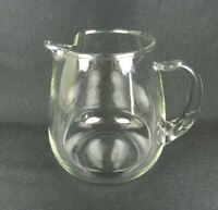 """Vintage Clear Glass Pitcher Open Handle Elegant Ice Lip 7"""" H Heavy"""